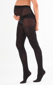 Black Patterned Maternity Tights